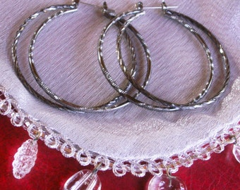 Gunmetal Textured Big Double Hoop Pierced Earrings Large Hoops Boho Jewelry