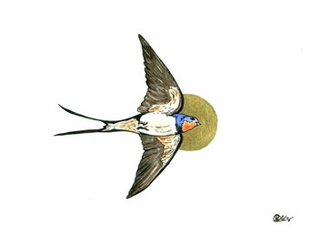 Swallow Fine Art Print Home Decor Art Gift For Her, Nature Paintings, Bird Art Print, Swallow Illustration Print, Wildlife Art, Wall Art