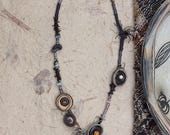 Black mixed media necklace, tribal statement jewelry, fiber art necklace with twig, clay, leather and wooden beads, OOAK