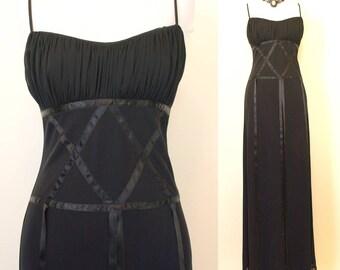 Vintage 90s long gothic vixen festival medieval black sun dress size S small xs goth steampunk