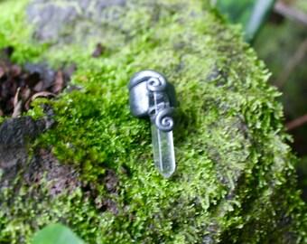 Silver Quartz Dread Bead READY TO SHIP Mori Woodland Fantasy Elf Fairy Renfaire Forest