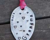 GRANDMA Ornament with HEARTS and 2017 made from Spoon with PINK Ribbon Ready to Ship  Sale Priced