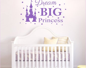 DREAM BIG Princess with Castle & Stars Vinyl Wall Decal Baby Nursery Sticker NK-125