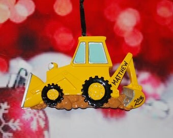Personalized Construction Backhoe Christmas Ornament