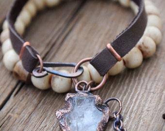 Clear ARROWHEAD Crystal Quartz Bracelet • Boho Statement Piece • Tribal • Unisex