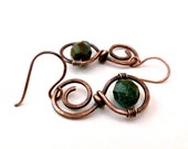 Small Earrings Wire Wrapped Earrings Copper Wire Wrapped Jewelry Handmade Czech Picasso Beads Copper Jewelry Beaded Copper Wire Earrings