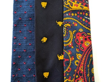 Vintage Necktie Collection Rooster Terylene Set Ties MINT Condition --FREE SHIPPING--