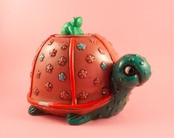 1960's Vintage Turtle and Frog Chalkware Coin Piggy Bank Hippie Mod Style Green and Salmon