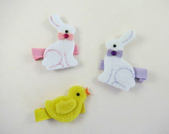 Small Easter Hair Clips - Bunny Hair Clip - Yellow Chick Hair Clip - Pink Yellow White Hair Clips - Hair Clip Set - Easter Holiday Hair Bows