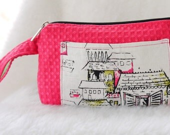 Wristlett, Pouch, Top Zip Clutch, Pink and Black Textured ZipnTop Wristlet