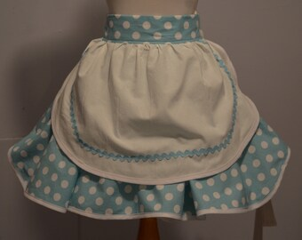 Retro Apron, Flirty Apron, I Love Lucy Apron, Inspired by My Love Of Lucy Light Blue Polka Dor