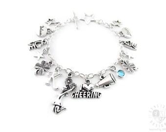 Cheerleading Charm Bracelet, Cheer Bracelet, Cheerleader Gifts, I Love Cheering
