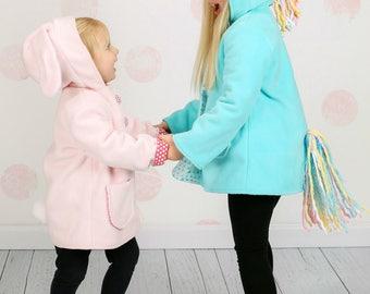 Rainbow Unicorns and Pink Bunnies, Children's Fleece Character Coats, Wild & Woolly, Girls Outerwear, Aqua Blue Coat, Pink Jacket
