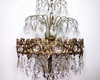 Hollywood Regency  Waterfall Crystal Prism Chandelier, Vintage Ceiling Light Fixture, Mid Century Loevsky Pendant Light
