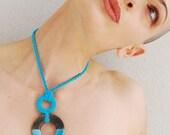 Ceramic geometric necklace // circle raku ceramic pendant // FASHIONISTA // Minimal Jewelry // Turquoise Necklace // Modern Necklaces