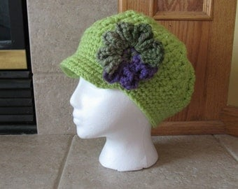 Newsboy Hat, Crochet Newsboy Hat, Knit newsboy cap,  Womens Hat, light green, spring green, flower,  Easter