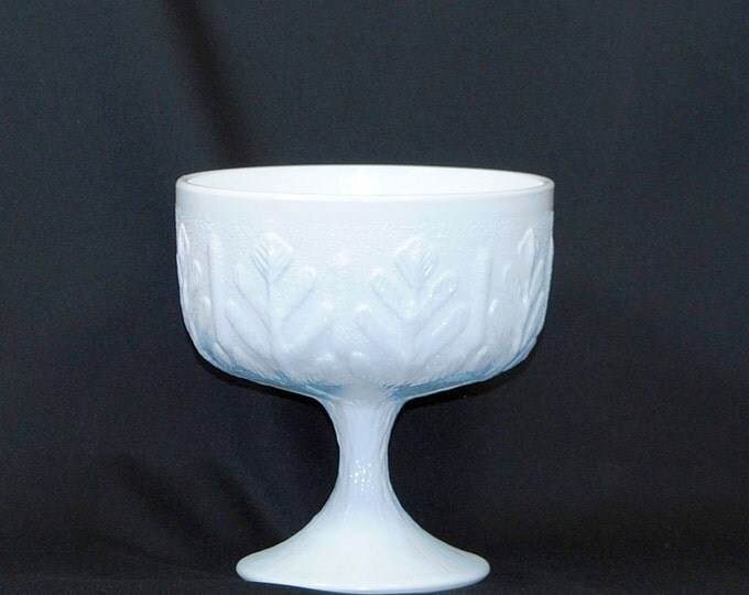 Vintage Milk Glass Pedestal Bowl, Oak Leaf Compote, Fruit Bowl, Flower Bowl, Milk Glass Vase, Planter, Centerpiece, Indiana Glass Company