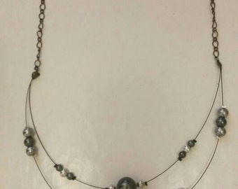 Grey and silver wire beaded necklace