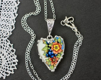 Necklace, Broken China Jewelry, Broken China Necklace, Heart Pendant, Colorful Floral China, Art Deco, Sterling Silver Chain