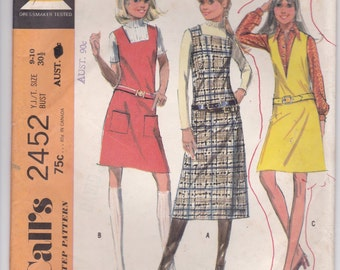 1970's Sewing Pattern - McCalls 2452 Sewing Pattern Jumper/Dress  Size 9/10 Cut, Complete Bust 30 1/2 inch
