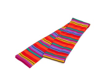 Vintage Multicolor Scarf SILK LIZ Claiborne Stripe Design Head Wrap Purse Tie Neckwear Scarflette Made in Japan Designer Headwear
