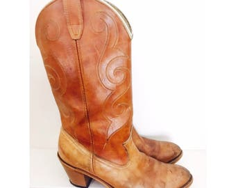 Vintage Tan Leather Cowgirl Boots