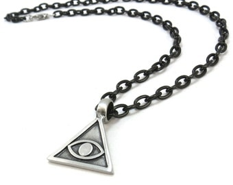 All Seeing Eye Necklace, Black Chain Illuminati Pendant