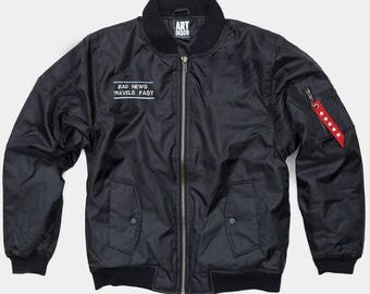 Bad News Travels Fast MA1 Bomber Jacket by Art Disco