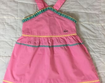VTG 1970s Izod Lacoste Pink Overall Dress Size 4T Toddler