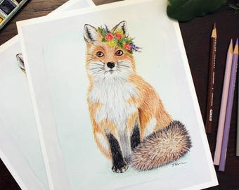 Fox and Crown Giclee art print. Floral, animal, woodland theme watercolor and color pencil. Nursery or family wall decor. Sweet and elegant.