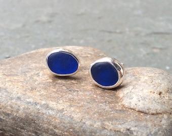 Sea glass earrings, sea glass stud earrings, bezel set sea glass and sterling silver earrings