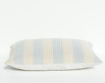 Stripy grey and beige crochet cushion/pillow