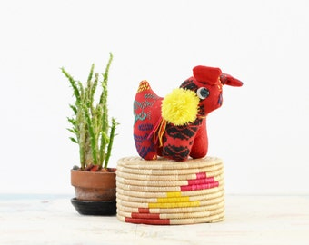 Embroidered Stuffed Animal with Pom Pom - Small Vintage Ethnic Pincushion
