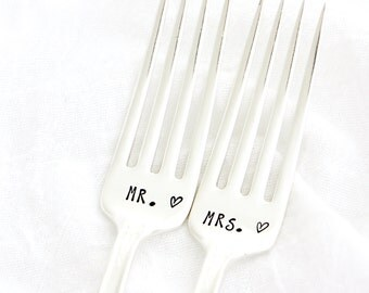 Mr and Mrs wedding forks, hand stamped table setting for unique engagement gift.