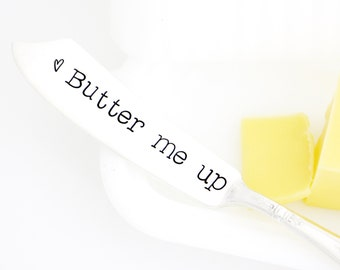 Stamped Butter Spreader. Butter Me up. Stamped silverware by Milk and Honey.