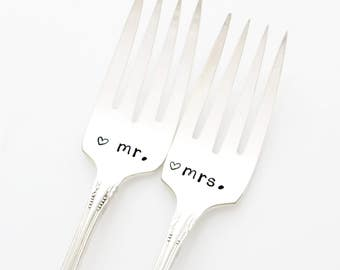 Mr and Mrs wedding cake forks. Unique engagement present. As featured by Martha Stewart Weddings.