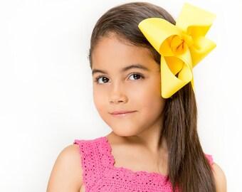 Yellow XL Hair Bow - Extra Large Hair Bow, Big Hair Bow, Yellow Hair Bow, XL Hair Bows, Large Hair Bows