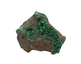 Malachite Green Crystal Druzy on Limonite Rock Matrix Mineral Geo Collection Specimen Mined in the 1980s in Mexico, Bright and Shimmery