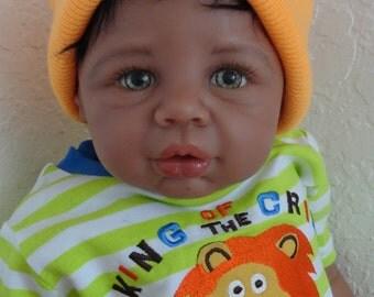 "Reborn African American/Ethnic/Biracial Baby Boy Doll ""Kobe"" from Eva Helland's ""Kyra"""