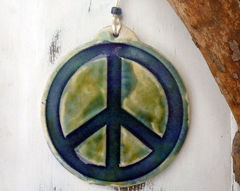 Handmade Ceramic Peace Sign Wall Hanging, Blue Green Ceramic Peace Sign Plaque, Peace on Earth Home Decor, Peace Symbol, Ready to Ship.