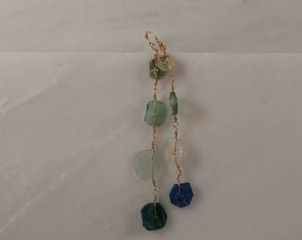 Four tier ancient roman glass earrings