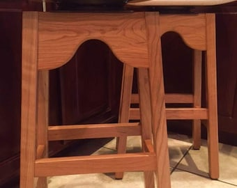 Cherry and Tiger Maple Swervy Stools