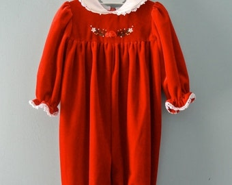 ON SALE Vintage red velour baby romper / red and white romper / Baby girl  6 to 9 months
