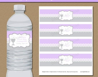 Printable First Communion Bottle Labels, Girl 1st Communion Water Bottle Wraps, Downloadable Water Bottle Labels, First Holy Communion Decor