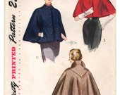 "1940's Simplicity Chic Cape in Two Lengths Pattern - Bust 38"" - No. 3122"