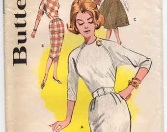 """1960's Butterick One-Piece Wiggle or Rockabilly Dress with Long os Elbow Sleeves - Bust 32"""" - No. 9465"""