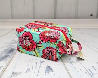Modern Flowers, Tula Pink fabric Knitting Project Bag, Large boxy bag, Knitting Box Project Bag.Crochet project bag, sock knitting bag