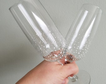 Bubbly Champagne Flutes Toasting glasses White bubbles - Set of 2