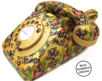 Mata Hari Damask Upcycled Vintage Rotary Phone FULLY WORKING - Quirky Home Decor