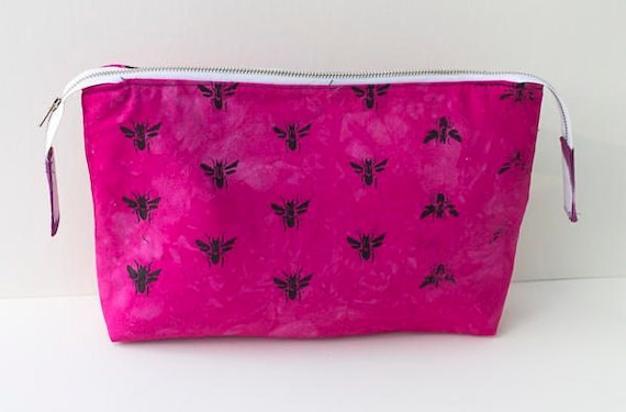 Bees Bag, Handmade Zipped Pouch, Project Bag